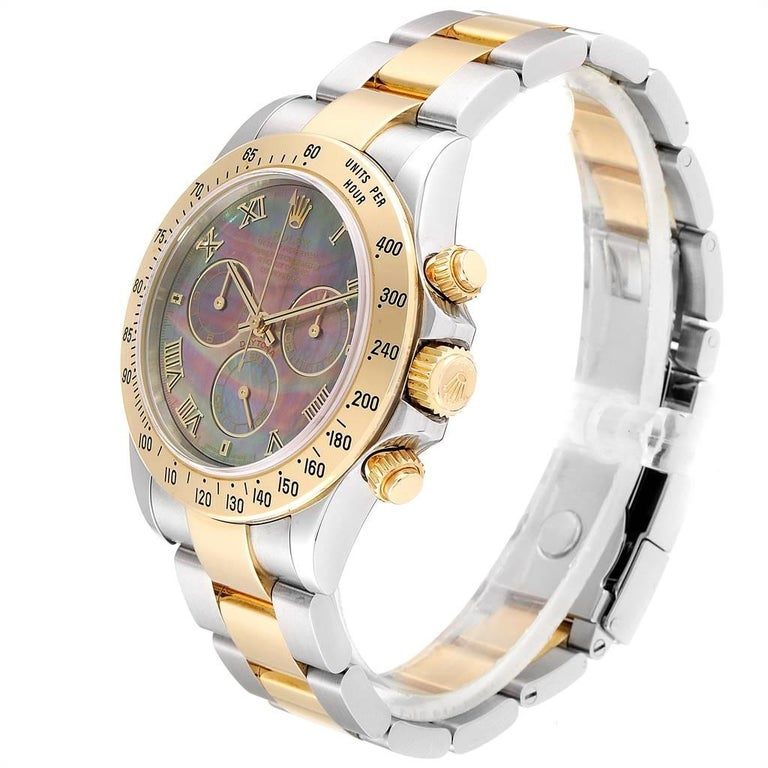 Rolex Daytona Steel Yellow Gold Black Mother of Pearl Dial Chronograph Men's For Sale 1