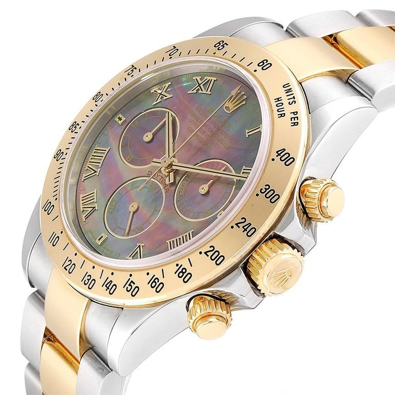 Rolex Daytona Steel Yellow Gold Black Mother of Pearl Dial Chronograph Men's For Sale 2