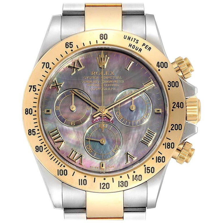 Rolex Daytona Steel Yellow Gold Black Mother of Pearl Dial Chronograph Men's For Sale