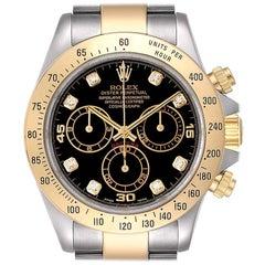 Rolex Daytona Steel Yellow Gold Diamond Chronograph Watch 116523 Box Papers