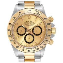 Rolex Daytona Steel Yellow Gold Inverted 6 Men's Watch 16523 Box Papers