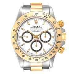 Rolex Daytona Steel Yellow Gold Inverted 6 White Dial Men's Watch 16523