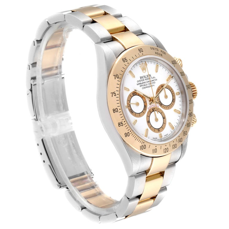 Rolex Daytona Steel Yellow Gold White Dial Chronograph Men's Watch 116523 In Excellent Condition For Sale In Atlanta, GA