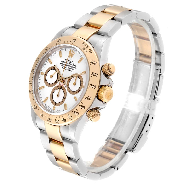 Rolex Daytona Steel Yellow Gold White Dial Chronograph Men's Watch 116523 For Sale 1