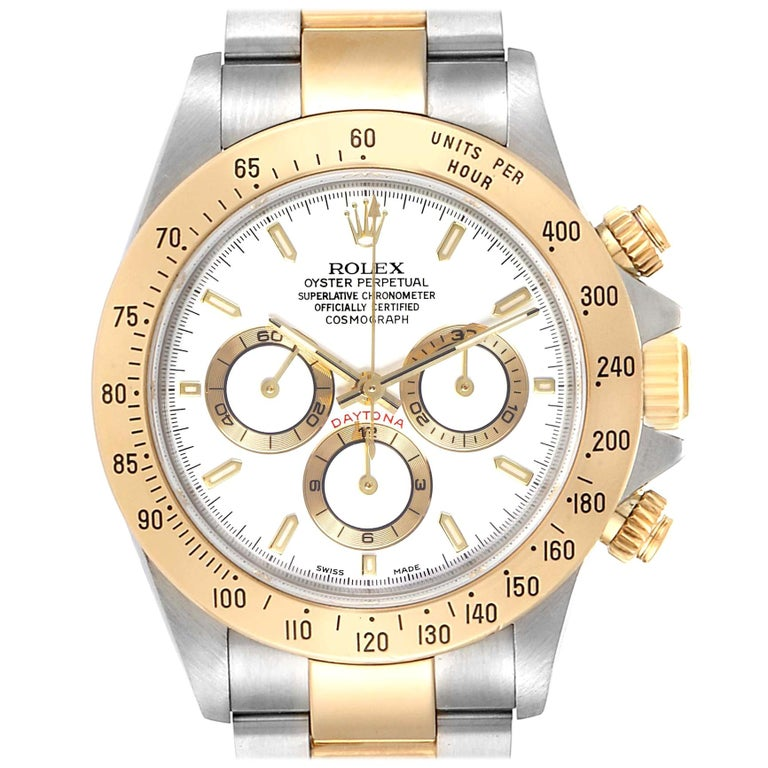 Rolex Daytona Steel Yellow Gold White Dial Chronograph Men's Watch 116523 For Sale