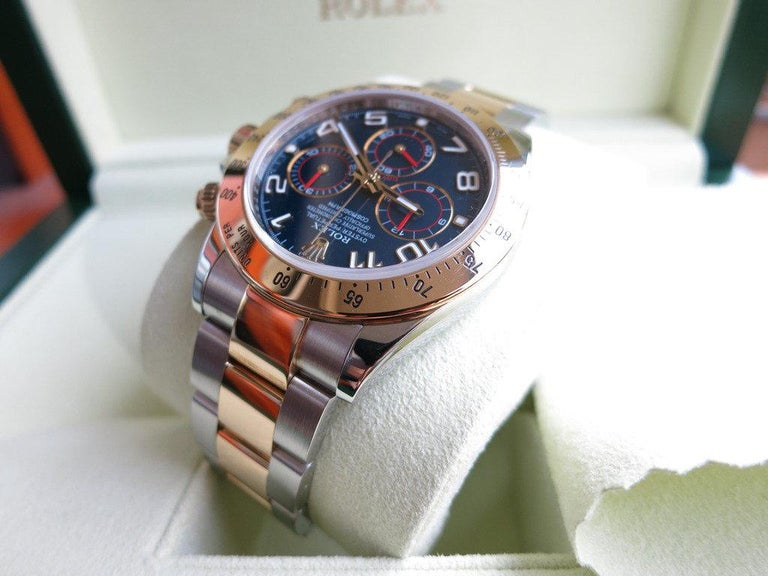 Rolex Daytona Two-Tone Blue Racing Dial In Excellent Condition For Sale In New York, NY