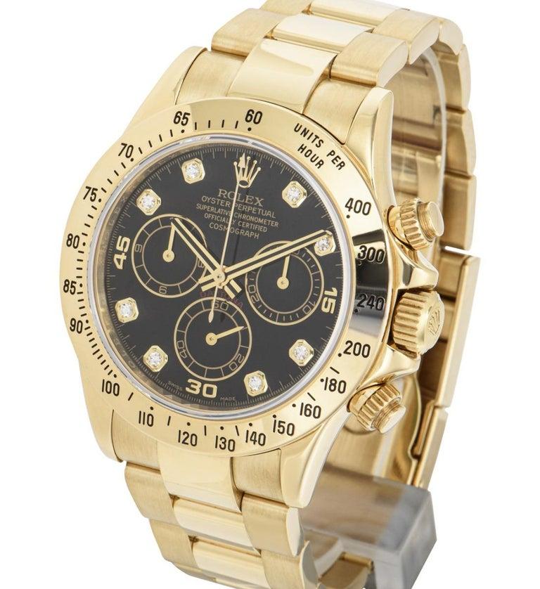 Brilliant Cut Rolex Daytona Yellow Gold 116528 Watch For Sale