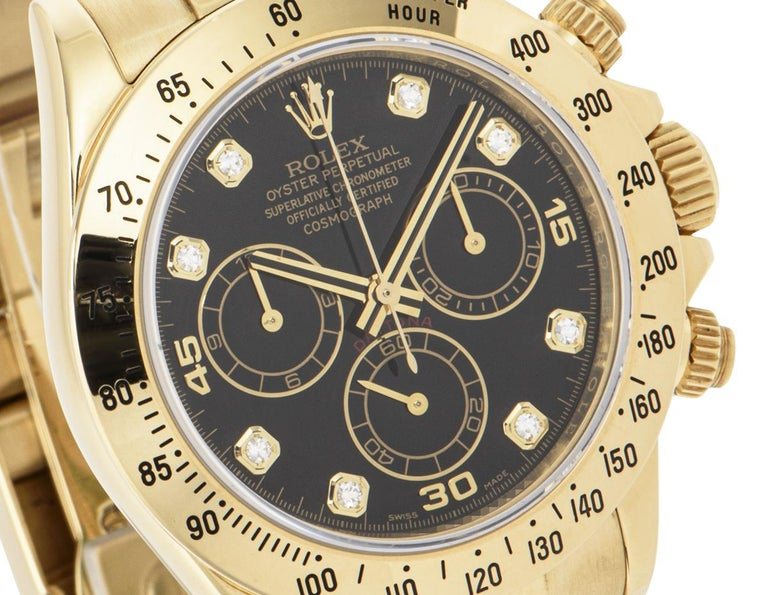 Rolex Daytona Yellow Gold 116528 Watch In Excellent Condition For Sale In London, GB