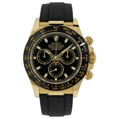 Rolex Daytona Yellow Gold Black Dial Oysterflex Bracelet Watch 116518LN