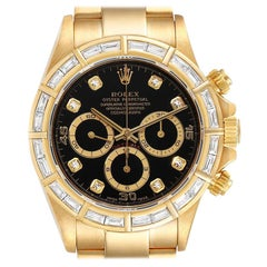 Rolex Daytona Yellow Gold Diamond Dial Bezel Chronograph Men's Watch 16568