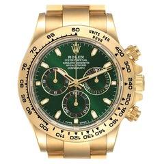 Rolex Daytona Yellow Gold Green Dial Mens Watch 116508 Box Card