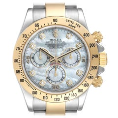 Rolex Daytona Yellow Gold Steel MOP Diamond Mens Watch 116523