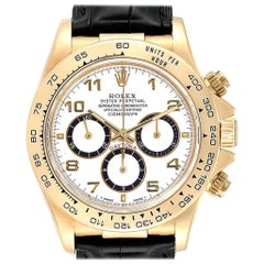 Rolex Daytona Yellow Gold White Dial Black Strap Men's Watch 116518
