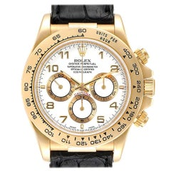Rolex Daytona Yellow Gold White Dial Black Strap Men's Watch 16518