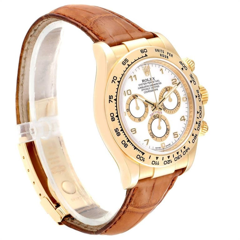Rolex Daytona Yellow Gold White Dial Brown Strap Men's Watch 116518 In Excellent Condition For Sale In Atlanta, GA
