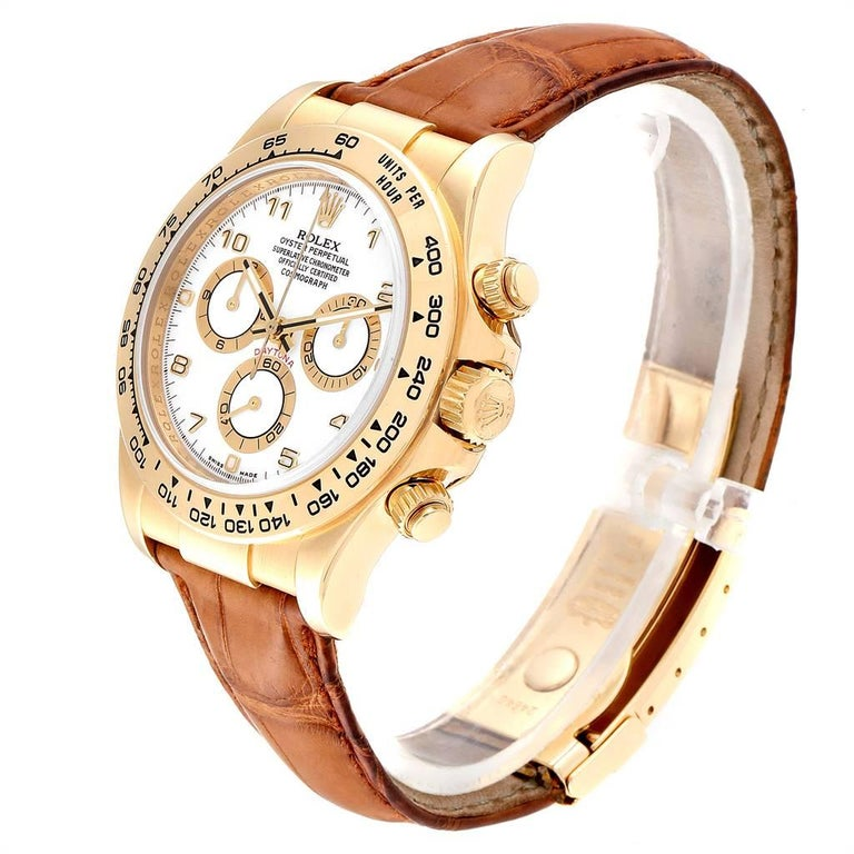 Rolex Daytona Yellow Gold White Dial Brown Strap Men's Watch 116518 For Sale 1