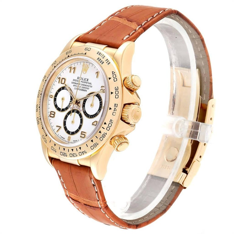 Rolex Daytona Yellow Gold White Dial Brown Strap Men's Watch 116518 For Sale 1