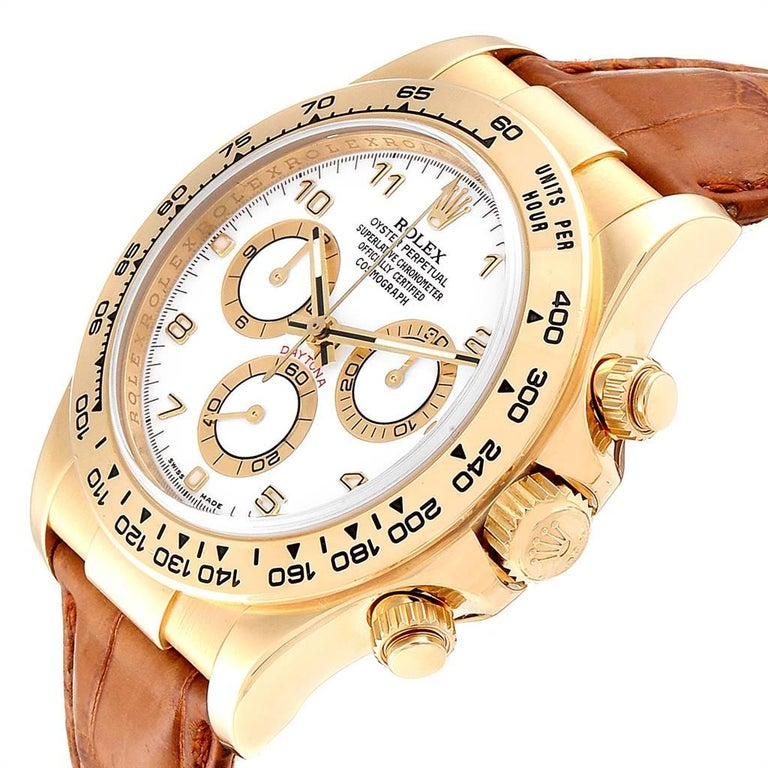 Rolex Daytona Yellow Gold White Dial Brown Strap Men's Watch 116518 For Sale 2