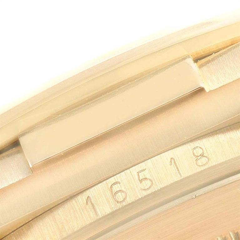 Rolex Daytona Yellow Gold White Dial Brown Strap Men's Watch 116518 For Sale 3