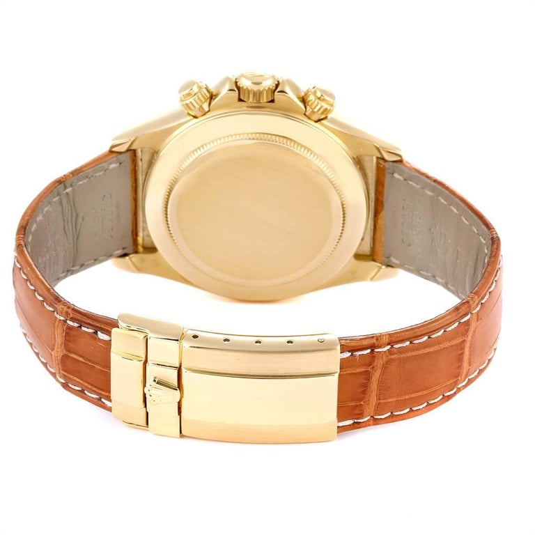 Rolex Daytona Yellow Gold White Dial Brown Strap Men's Watch 116518 For Sale 6