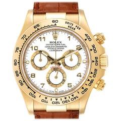 Rolex Daytona Yellow Gold White Dial Brown Strap Men's Watch 116518