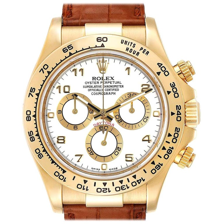 Rolex Daytona Yellow Gold White Dial Brown Strap Men's Watch 116518 For Sale