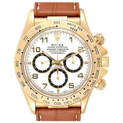 Rolex Daytona Yellow Gold White Dial Brown Strap Men's Watch 116518