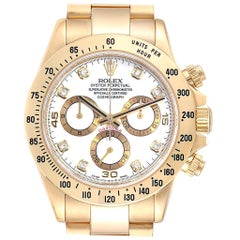Rolex Daytona Yellow Gold White Diamond Dial Men's Watch 116528 Box Papers