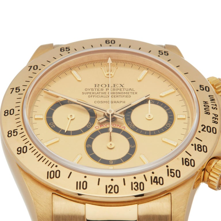 Rolex Daytona Zenith Inverted 6 Floating Cosmograph 200 Bezel Yellow Gold 16528 In Excellent Condition For Sale In Bishops Stortford, Hertfordshire
