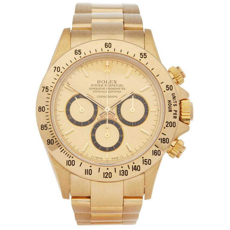 Rolex Daytona Zenith Inverted 6 Floating Cosmograph 200 Bezel Yellow Gold 16528 For Sale