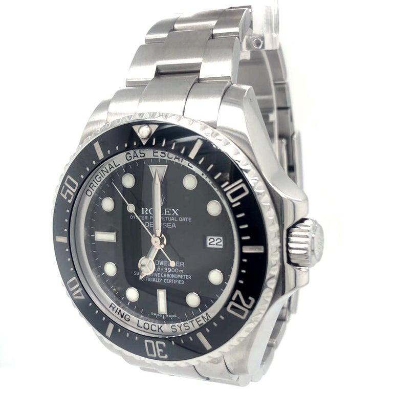 Modernist Rolex Deepsea Sea-Dweller 116660 Stainless Steel Black Ceramic Dial Watch For Sale