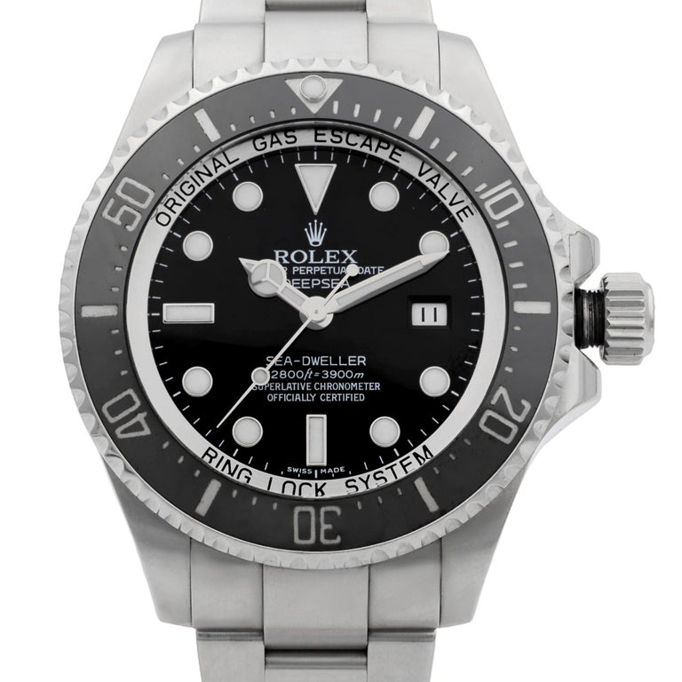 This pre-owned Rolex Deepsea  116660  is a beautiful men's timepiece that is powered by the mechanical (automatic) movement which is cased in a stainless steel case. It has a round shape face, date indicator dial, and has hand sticks & dots style