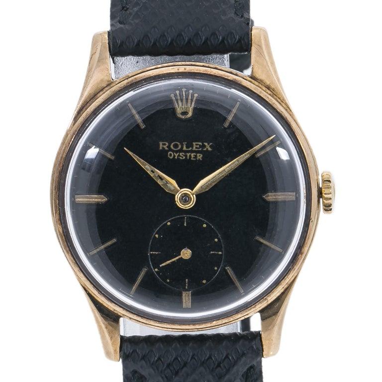 Rolex DENNISON 12868 MEN'S HAND WIND WATCH BLACK DIAL 9K YG 31MM