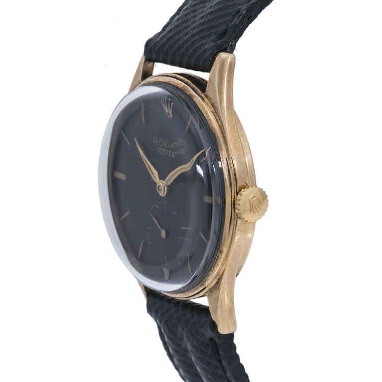 Contemporary Rolex Dennison 12868 Men's Hand Wind Watch Black Dial 9K YG For Sale