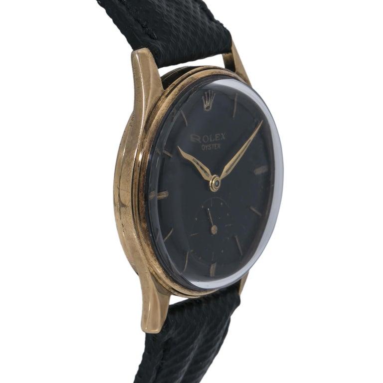 Rolex Dennison 12868 Men's Hand Wind Watch Black Dial 9K YG In Good Condition For Sale In Miami, FL