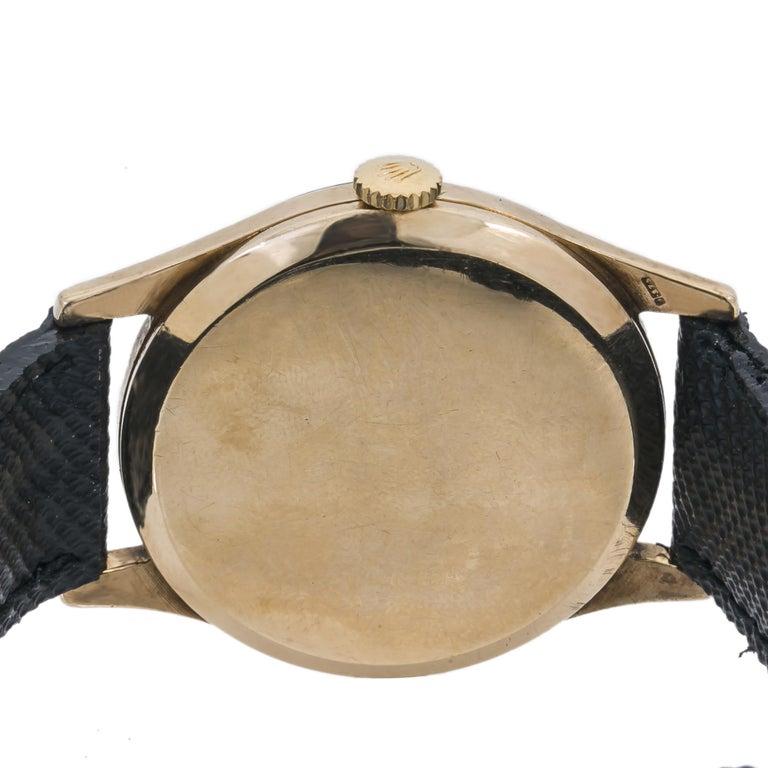 Rolex Dennison 12868 Men's Hand Wind Watch Black Dial 9K YG For Sale 1