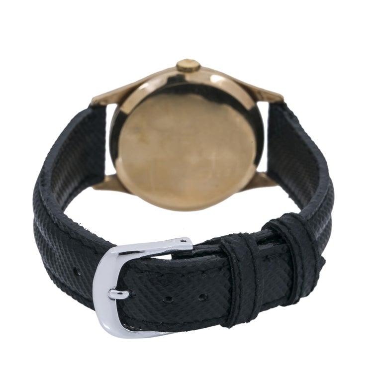 Rolex Dennison 12868 Men's Hand Wind Watch Black Dial 9K YG For Sale 2