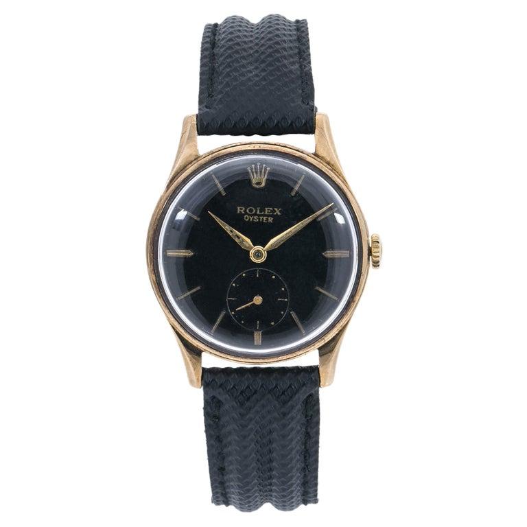 Rolex Dennison 12868 Men's Hand Wind Watch Black Dial 9K YG For Sale