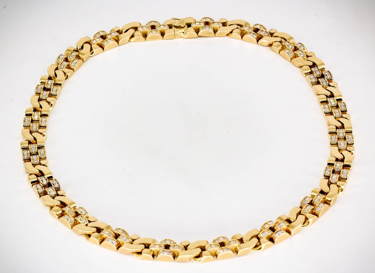 Rolex Diamond and Gold Link Necklace In Excellent Condition For Sale In New York, NY