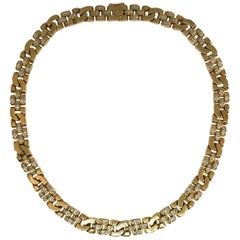 Rolex Diamond Link Collar Necklace 18 Karat Yellow Gold 5 Carat