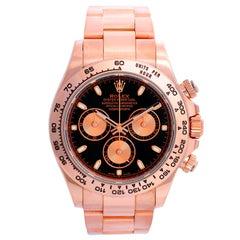 Rolex Everose Cosmograph Daytona Men's Rose Gold Watch Black Subdials 116505