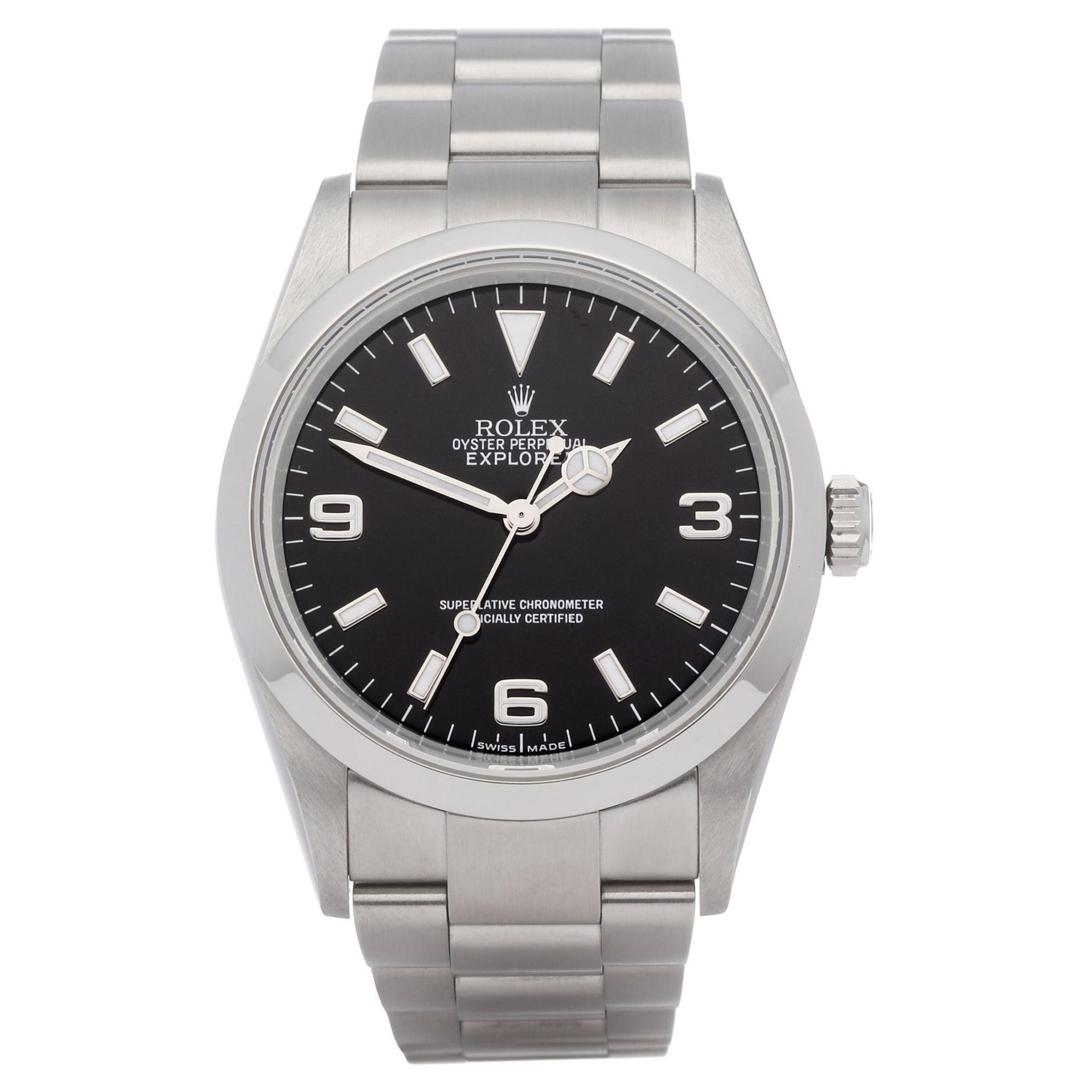 Rolex Explorer 0 114270 Men Stainless Steel 'Engraved Rehaut' Watch