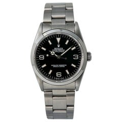 Rolex Explorer 14270 No Holes Men's Automatic Watch with Papers Black Dial SS