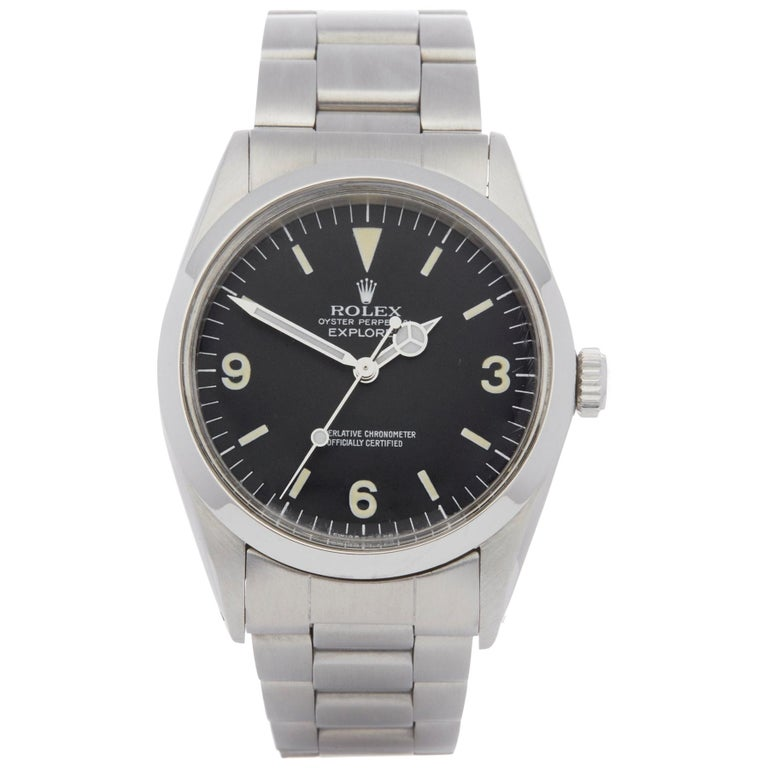 Rolex Explorer I 1016 Men's Stainless Steel Watch For Sale