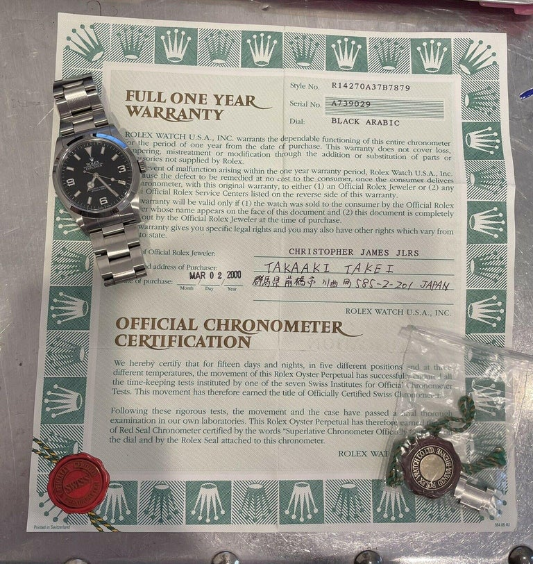 Rolex Explorer I 14270 Stainless Steel With Papers       Specifications  BrandRolex Model NameExplorer I Model No.14270 GenderUnisex Case Diameter39 mm BoxNo Papersyes  Condition Good  Serial A739XXX