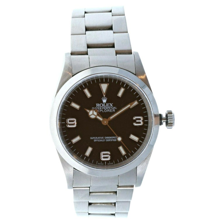 Rolex Explorer I 14270 Stainless Steel with Papers For Sale