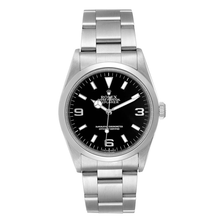 Rolex Explorer I 36mm Black Dial Automatic Steel Mens Watch 14270. Officially certified chronometer self-winding movement. Stainless steel case 36.0 mm in diameter. Rolex logo on a crown. Stainless steel smooth bezel. Scratch resistant sapphire
