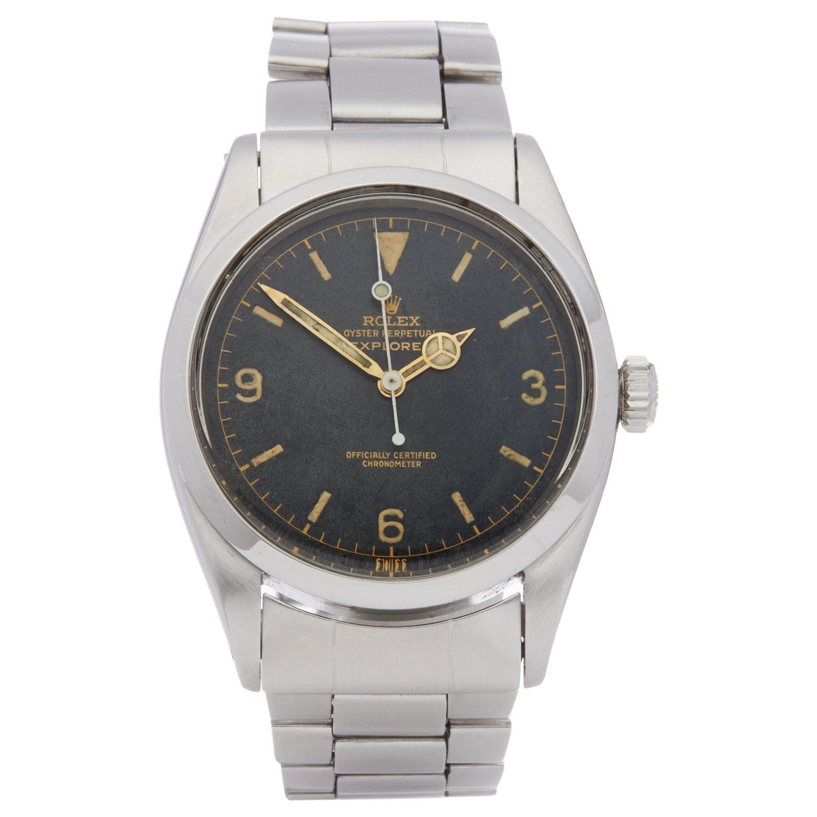 Rolex Explorer I 6610 Men Stainless Steel Gilt Watch
