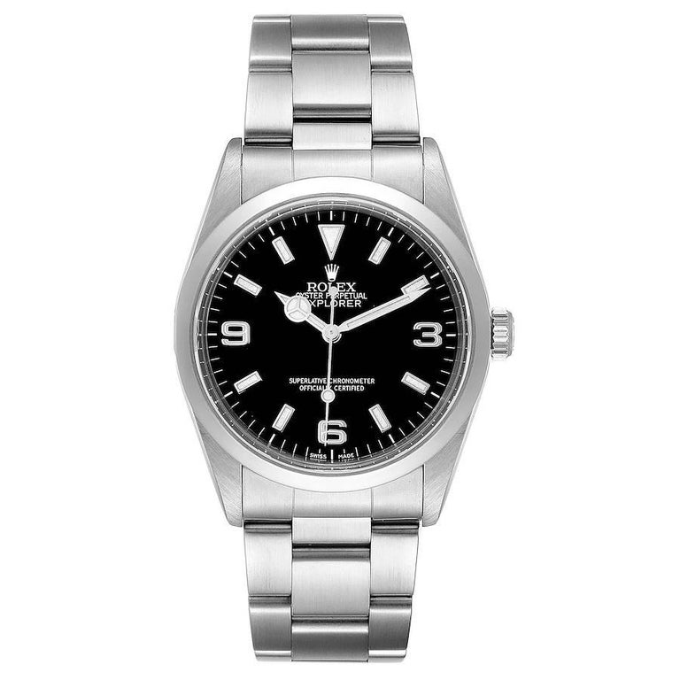 Rolex Explorer I Black Dial Stainless Steel Mens Watch 14270. Officially certified chronometer self-winding movement. Stainless steel case 36.0 mm in diameter. Rolex logo on a crown. Stainless steel smooth domed bezel. Scratch resistant sapphire