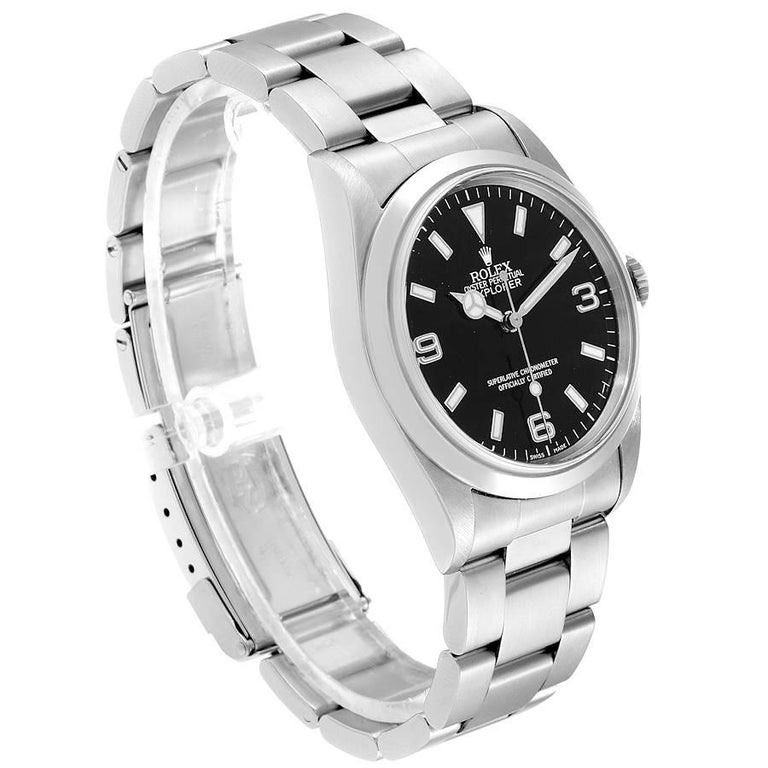 Rolex Explorer I Black Dial Stainless Steel Men's Watch 14270 In Excellent Condition For Sale In Atlanta, GA